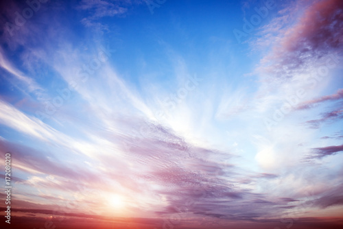 Sunrise summer sky panorama