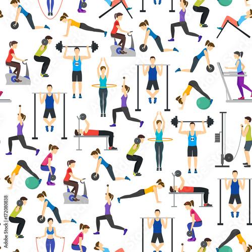 kreskowka-ludzie-treningu-cwiczenie-w-gym-tla-wzorze-na-bielu-wektor