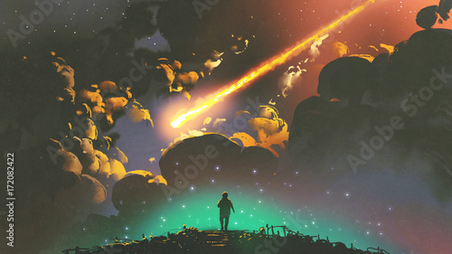 night scenery of a boy looking the meteor in the colorful sky, digital art style, illustration painting