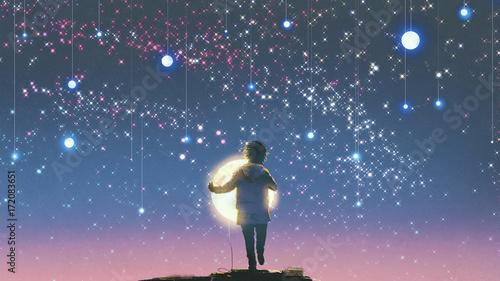 chłopiec trzyma świecący księżyc stojący przed wiszącymi gwiazdami na pięknym niebie, cyfrowy styl sztuki, malarstwo ilustracyjne