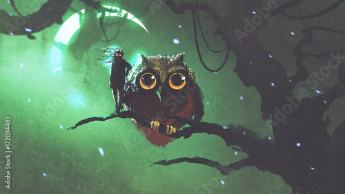 Poster Uilen cartoon the giant owl and its owner standing on a branch in night forest with green sky, digital art style, digital illustration