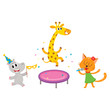 vector flat cartoon cheerful animals character happily smiling in paty hat set. giraffe jumping on trampoline, cat singing with microphone, hippo dancing . isolated illustration on a white background.