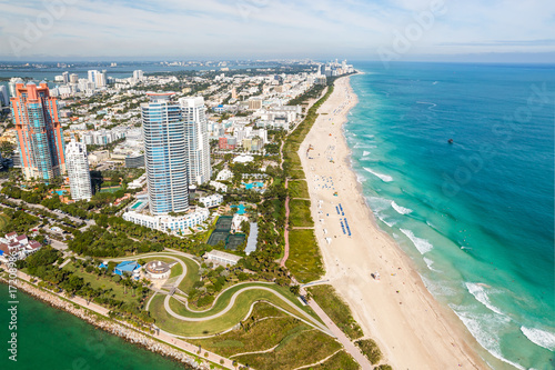 Plakat South Beach Miami Skyline Aerial View, Floryda