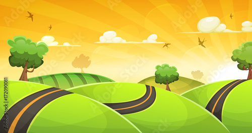 In de dag Lime groen Cartoon Landscape With Road And Shining Sun