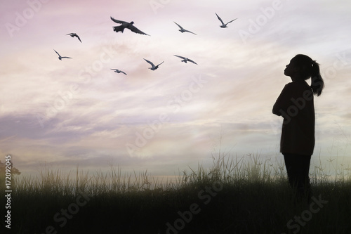 Fototapety, obrazy: shilouette of women standing and bird flying at filed, concept as freedom, hope and hopeful girl