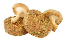 Raw Vegetarian Mushroom Burgers Isolated On A White Background