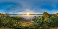 3D Spherical Panorama With 360 Viewing Angle. Ready For Virtual Reality Or VR. Full Equirectangular Projection. Sunrise At The Bank Of Lake. Boats On The Bank Of Lake.