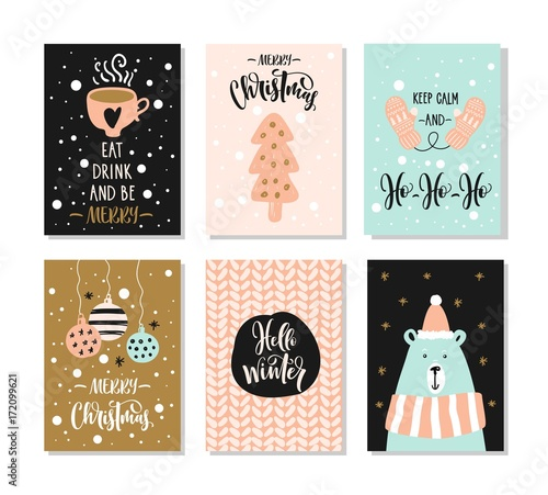 Merry Christmas greeting card set with lettering. Hand drawn design elements. Wall mural