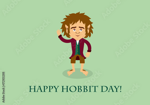 Photo  Happy hobbit day vector. Hobbit cartoon character. Important day