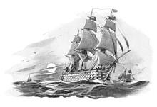 English Warship (Nelson Victory) - Vintage Illustration