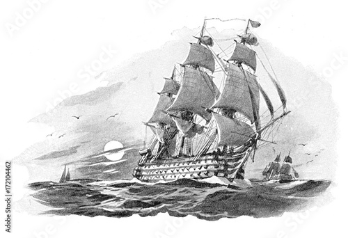 Fotobehang Schip English warship (Nelson Victory) - vintage illustration