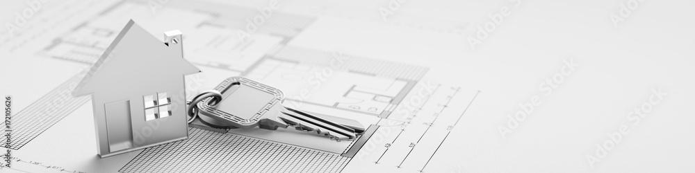 Fototapeta Schlüssel von Haus beim Hauskauf als Panorama