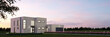 Freistehendes modernes Haus abends als Panorama