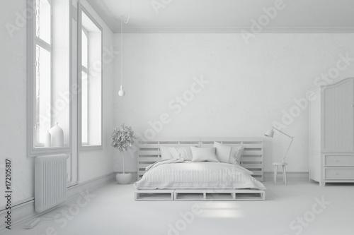Weißes Schlafzimmer mit Palettenbett - Buy this stock illustration ...