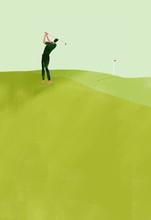 Illustration Of Golfer Playing Golf