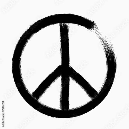 Peace Symbol Hand Drawn Brush Vector Illustration Buy This Stock