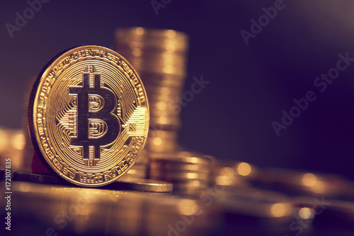 golden bitcoin, conceptual image for crypto currency Wallpaper Mural
