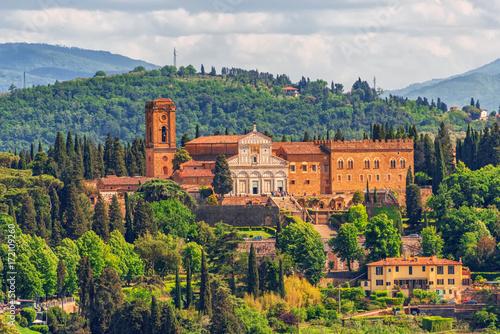 Basilica di San Miniato (Abbazia di San Miniato al Monte) a basilica in Florence, standing atop one of the highest points in the city Canvas Print