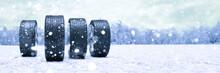 Winterreifen Im Schnee Im Wint...