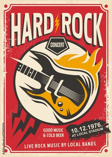 Muzyka rockowa koncert retro broszury z gitara elektryczna i płomień