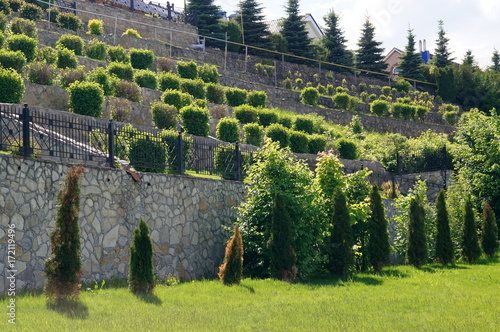 Tuinposter Wijngaard Stone wall with green bushes. Landscape design. Texture of nature. Background for text, banner, labels.