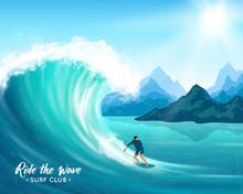 Surfer And Big Wave Illustration