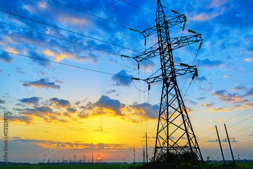Fotografiet  Power lines landscape
