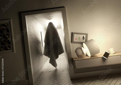 Obraz A creepy mysterious ghost spirit moving silently across a hallway inside a family home. 3D illustration concept. - fototapety do salonu