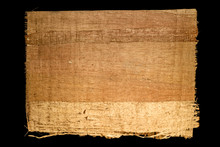 Old Sheet Of Simple Papyrus From Egypt Isolated On A Black Background