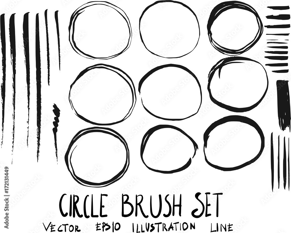 Fototapeta Set of circle brush doodle illustration Hand drawn Sketch line vector eps10