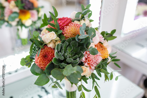 Poster Dahlia bright wedding bouquet of summer dahlias and roses