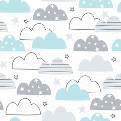 Fototapetaseamless clouds pattern vector illustration