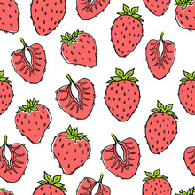 Seamless Nature Pattern With Sketch Of Fruit. Red Vector Background With Strawberry. Tropical Food.