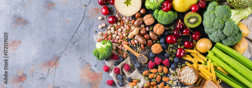 In de dag Assortiment Selection of healthy rich fiber sources vegan food for cooking