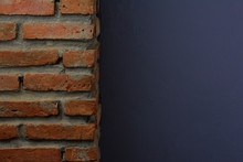 Old Orange Stone Brick Texture And Navy Blue Texture Of Cement Wall And Not Smooth For Background And Backdrop