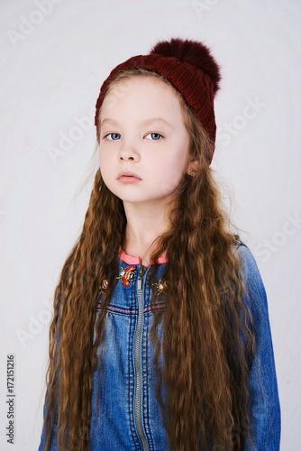 winter little girl in hat