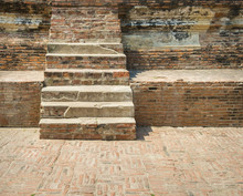 Crack Old Brick Wall And Walkway Stairs Outdoor