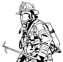 Fireman With Mask Holding Roof...