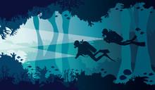 Scuba Diver, Lantern, Coral Re...