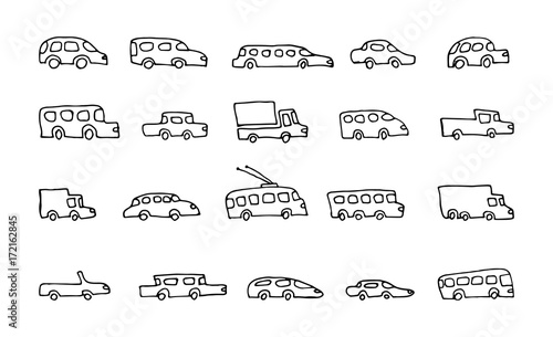 doodle transport car icons vector set