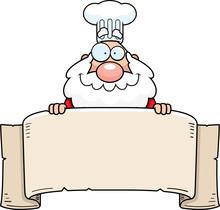 Cartoon Santa Claus Chef Banner
