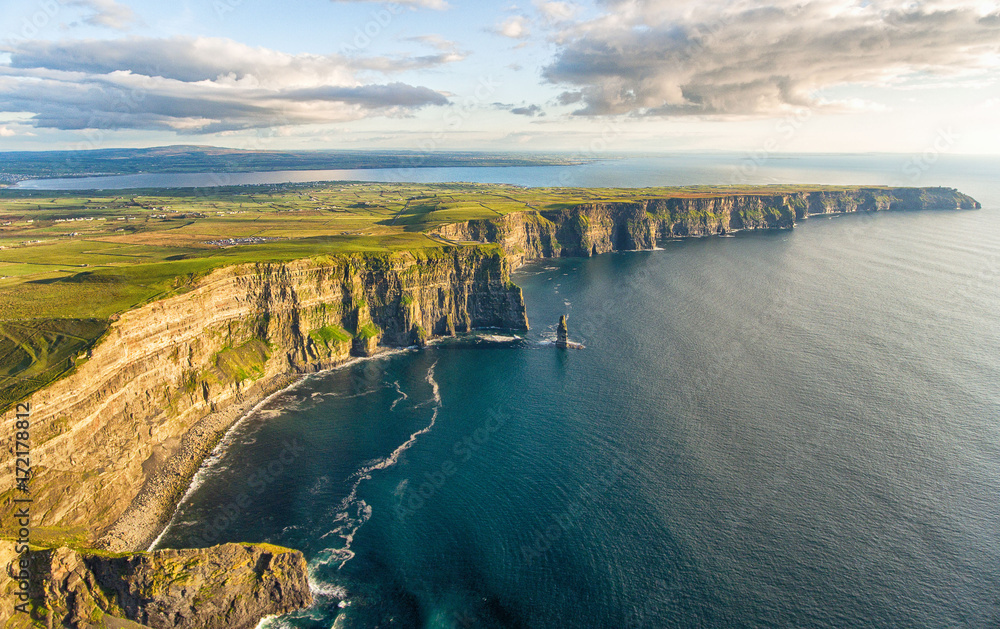 Fototapety, obrazy: Aerial birds eye drone view from the world famous cliffs of moher in county clare ireland. Scenic Irish rural countryside nature along the wild atlantic way.