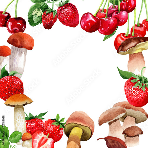 Mushrooms healthy food frame in a watercolor style  Full name of the