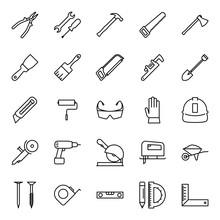 Construction Tools Icons Set Stroke Editable