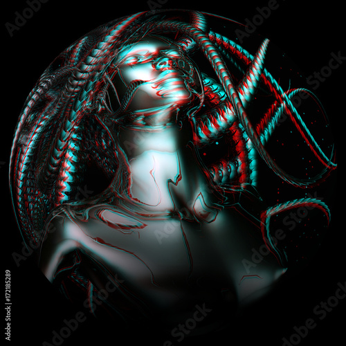 Digital 3D Illustration of an anaglyphic Gorgo Wallpaper Mural