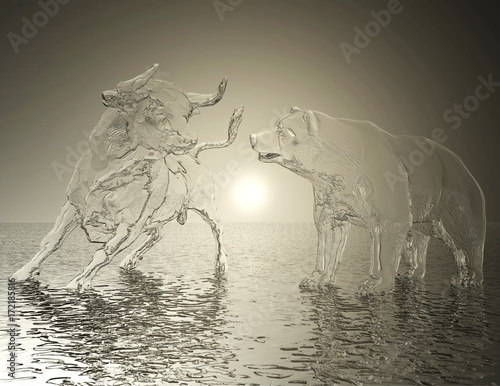 Fotografia  Digital 3D Illustration of a Bull and Bear Relief