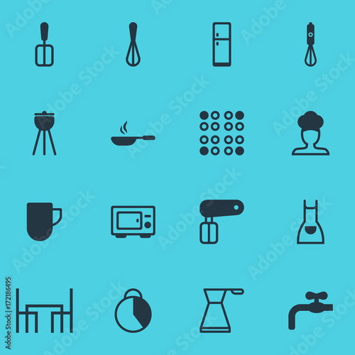 Photo  Vector Illustration Of 16 Restaurant Icons