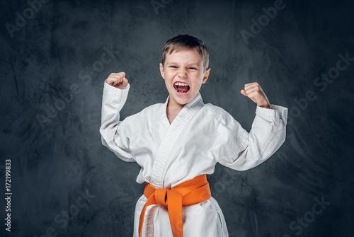Plakat Chłopiec przedszkolak ubrany w białe kimono karate.