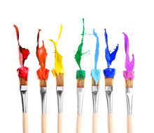 Brushes With Colorful Paints, ...