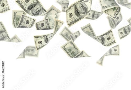 Fotografía  Flying money on white background